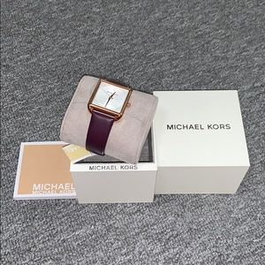 Michael Kors Purple Rose Gold Square Watch